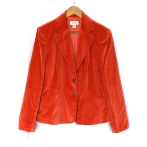 Talbot Orange Velvet Button Front Blazer